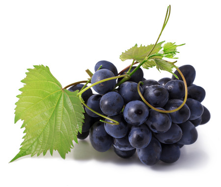 Grape with leaves isolated on white background