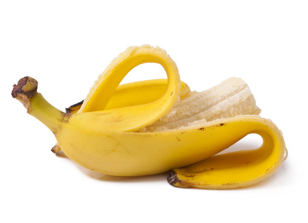 banana skin: Peeled banana on white background