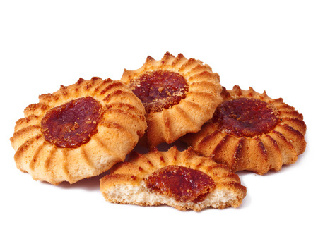crumbly: Qurabiya  delicious crumbly pastry with fruit jam on a white background  Stock Photo