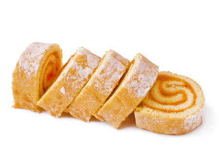 Sweet roll cake isolated on white Stock Photo
