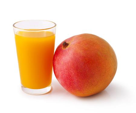 Mango juice and fruit isolation white