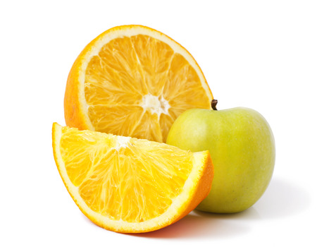 Apple and oranges isolated on white background Stock Photo