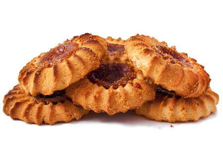 crumbly: Qurabiya. delicious crumbly pastry with fruit jam on a white background