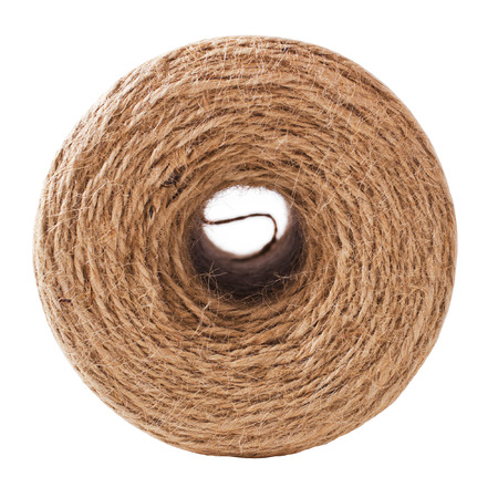 Roll of twine cord on white background