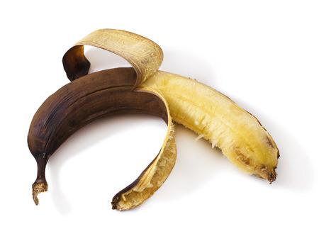 overrijpe banaan op een witte banaan