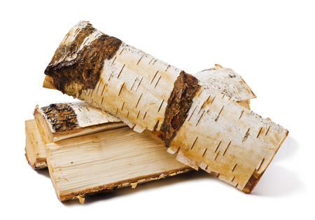 firewood made from birch isolated on white background