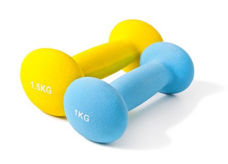 Fitness dumbbells on a white background
