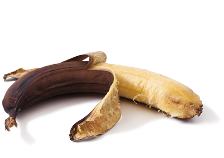 overripe banana, isolated on white banana Foto de archivo