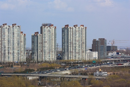 The cityscape of beijing,the image was taken from hill of Olympic. photo