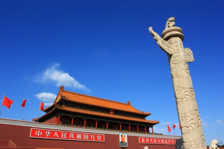 The Tiananmen and  marble pillar of china.The image was taken at Mar 2011