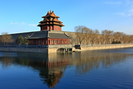 Northwest corner of forbidden city,the reflection in the moat, Beijing China.