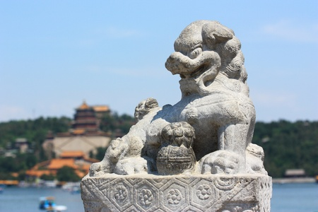 the summer palace: stone lions in summer palace