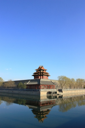 Northwest corner of forbidden city,the reflection in the moat, Beijing China. photo
