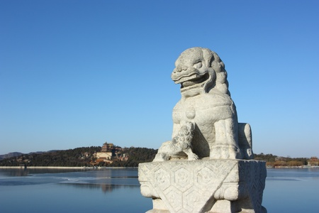 In the Summer Palace, these 544 carved white marble lions, in distinctive postures, sit at the column of the parapets on the 17-arch Bridge, which looks like a rainbow arching over the lake water.Beijing, China