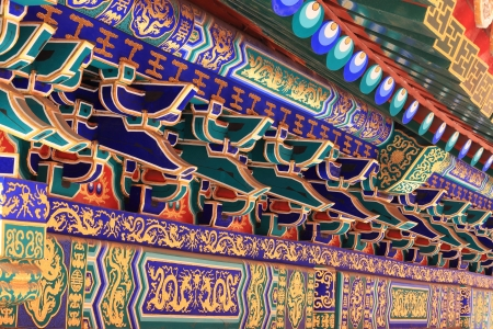 background of Chinese building roof in winter