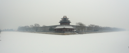 Northwest corner of forbidden city in winter, Beijing China