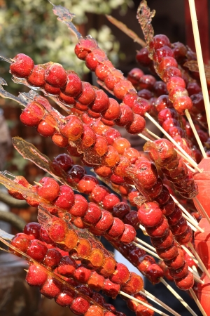 sugarcoated: Sugarcoated haws on a stick