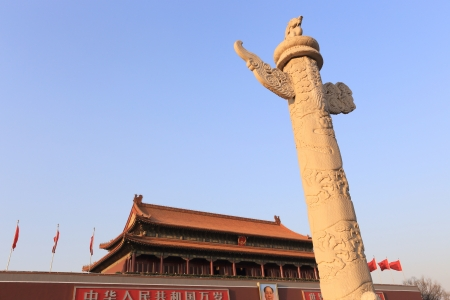 The Tiananmen and  marble pillar of china The image was taken at Mar 2011 新闻类图片