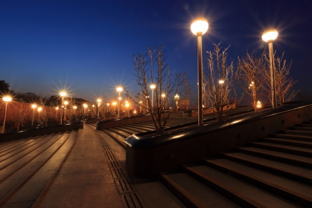 The lights and sunsets in Beijing  Stock Photo