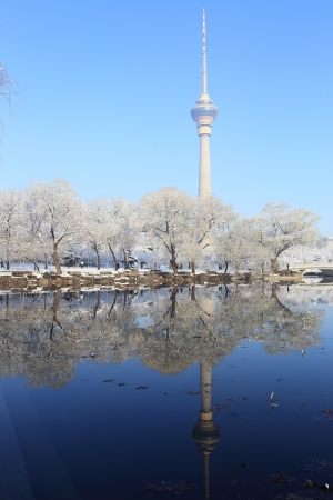 landscape of snow with cctv tower