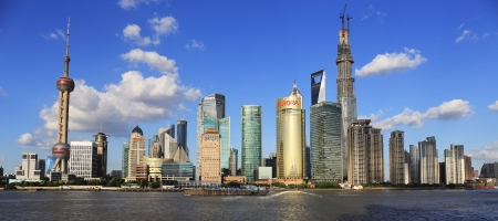 architectural architectonic: modern cityscape of shanghai china