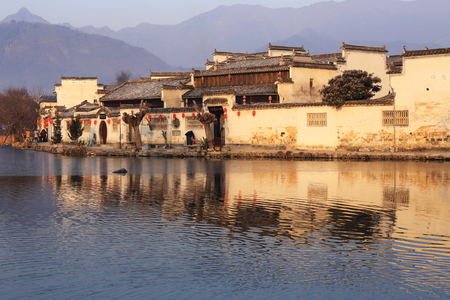 reflaction: chinese old building with beautiful reflaction