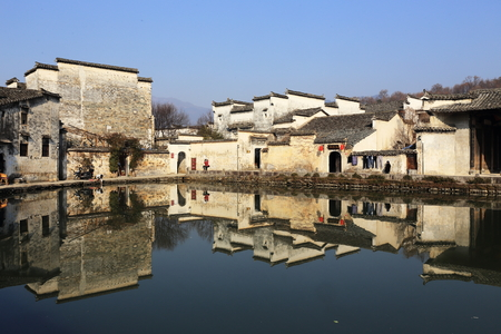 chinese old building with beautiful reflaction  photo