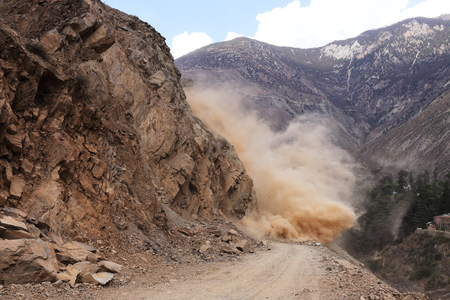 landslip: rockfall in the canyon and block the road Stock Photo