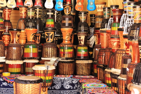 Djembe drums and ukuleles at a stall