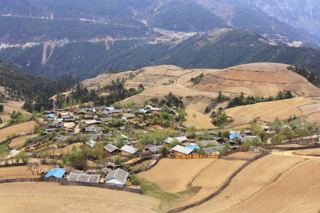chinese village in spring in mountain