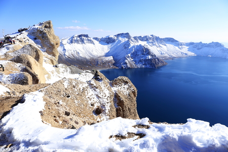 crater lake: crater lake with snow in winter Stock Photo