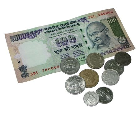 India Currency - One Hundred Rupee Note / bill and Coins