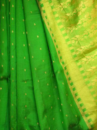 sari: Closeup of silk sari with artistic border Stock Photo
