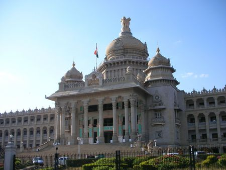 secretariat: A panoramic view of the famous Vidhana Soudha - the Legislature and Secretariat building  architecture - in Bangalore city, Karnataka State, India. Stock Photo