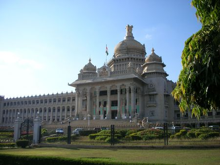 karnataka: A panoramic view of the famous Vidhana Soudha - the Legislature and Secretariat building  architecture - in Bangalore city, Karnataka State, India. Stock Photo