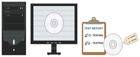 Vector conceptual illustration of alpha and beta software testing in software engineering. Illustration