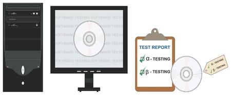 beta: Vector illustration concettuale di alfa e beta test del software nel campo dell'ingegneria del software. Vettoriali