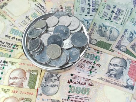 financial cliff: Indian currency, Rupees and coins