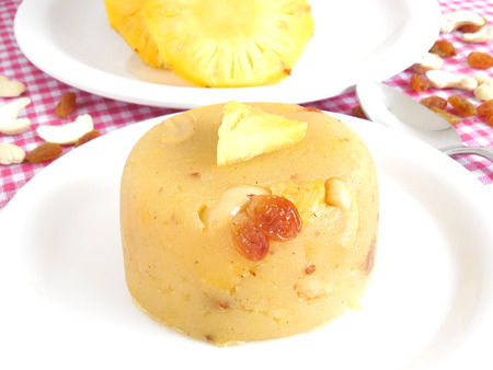 indian sweet: Indian sweet dish made from semolina, ghee, sugar and pineapple..