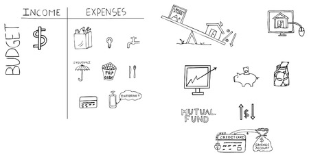 Hand-drawn illustrations of personal finance topics, including budget, income, expenses, home loan, mutual funds, emergencey fund, credit card