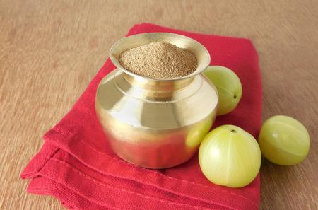 gooseberry: Indian gooseberry powder, home-made. Stock Photo