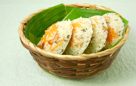 indian food: Rava idli or semolina cake, a south Indian, steam-cooked vegetarian food.