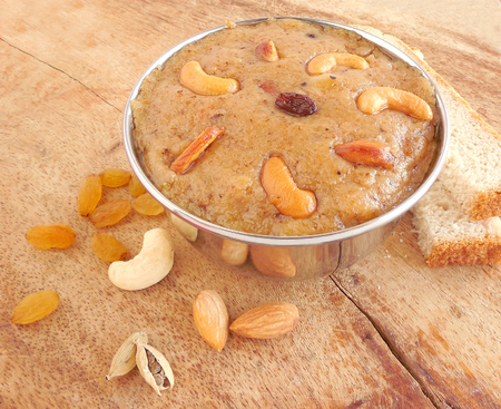 indian sweet: Indian sweet food bread halwa, a delicious cuisine. Stock Photo