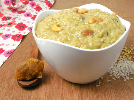 Indian food pongal, sweet variety. It is a vegetarian, traditional, popular and healthy dish made from rice and mung. Stock Photo