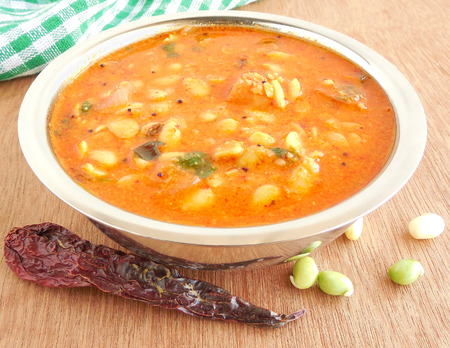 indian bean: Indian food field bean curry in a bowl.
