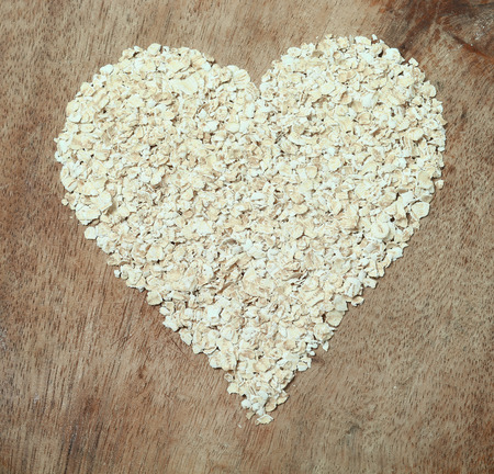 insoluble: Healthy food oats arranged in a heart shape.