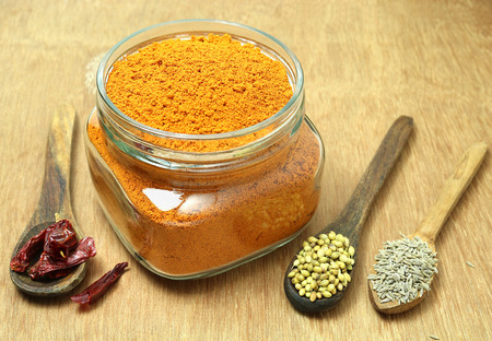 pungency: Homemade chili powder, which is finely ground, in a bottle, made from ingredients including red chili, coriander seeds and cumin.