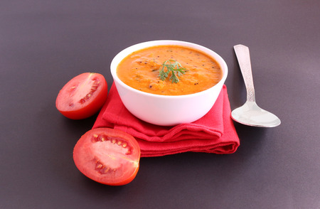 lycopene: Indian food tomato curry, which is a healthy, traditional and popular side dish for items like chapati and rice. Stock Photo