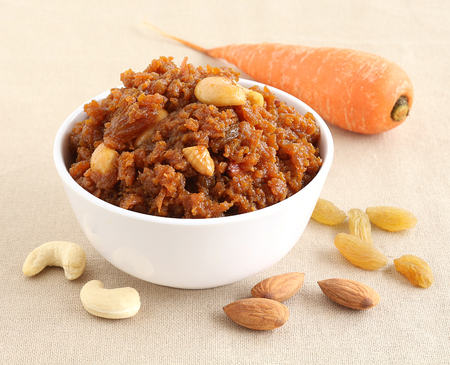 gratings: Carrot halwa, an Indian traditional and popular sweet dish, which is typically made on the day of festivals like Diwali. Jaggery is used instead of sugar to make the food healthier.