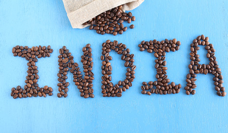 Concept to indicate India as one of the worlds largest producers of coffee. Stock Photo